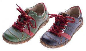 Leder Damen Halb Schuhe TMA Comfort Sport Sneakers Schnürer Used Look Schwarz Grün Rot Turnschuhe
