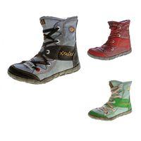 Leder Winter Stiefeletten TMA Damen Knöchel Schuhe gefüttert Schwarz Weiß Grün Blau Rot Stiefel im used look Knöchelschuhe