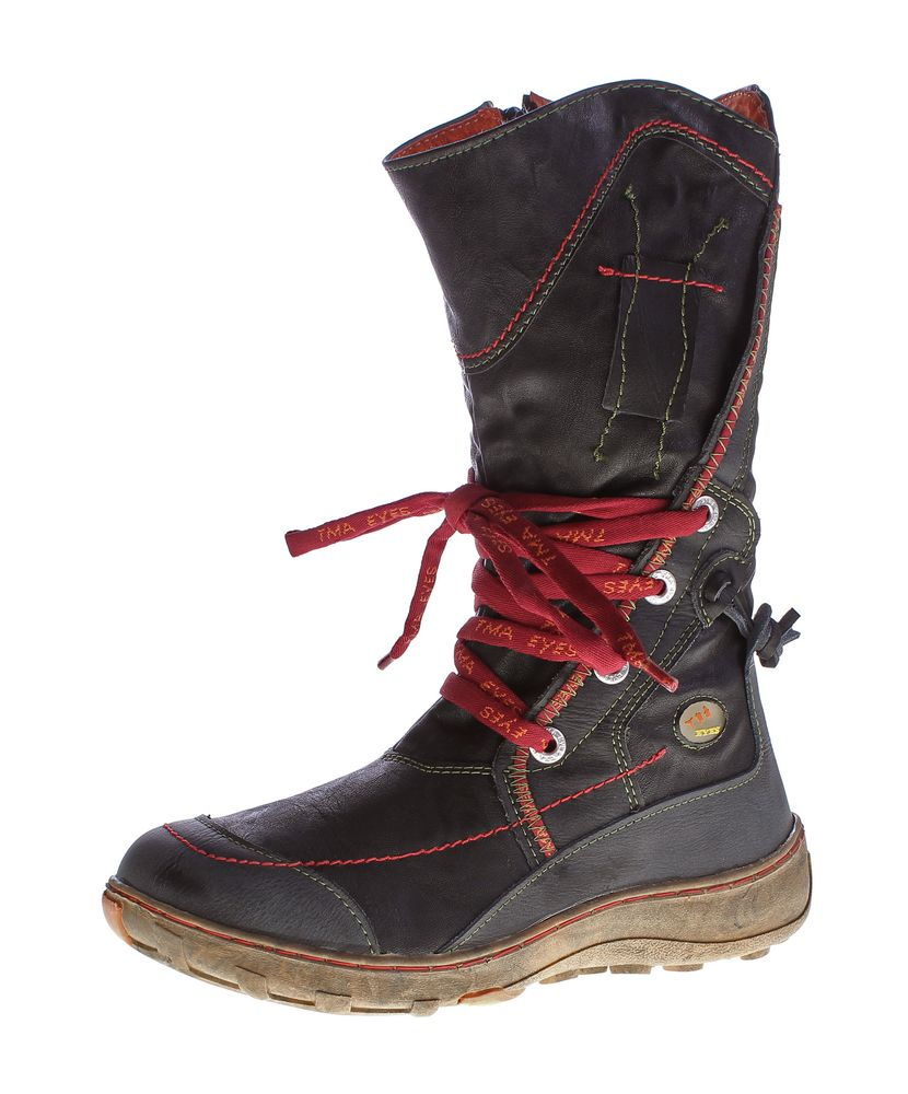 online store 8f329 d26ed Leder Damen Winter Stiefel TMA Schuhe gefüttert Schwarz Grün Gelb bunte  Ziernähte Winterstiefel