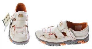 Damen Sandaletten Leder Schuhe TMA 7096 Klettverschluss Gelb Grün Rot Weiss Halbschuhe im Used Look – Bild 12