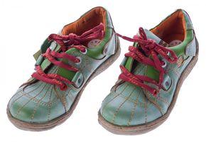 Comfort Leder Schuhe Damen Schuhe Schwarz Weiß Grün Schnürer Sneakers used Look Halbschuhe – Bild 5