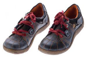 Comfort Leder Schuhe Damen Schuhe Schwarz Weiß Grün Schnürer Sneakers used Look Halbschuhe – Bild 2