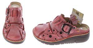 Damen Leder Clogs TMA Schuhe Schwarz Weiß Rot Grün Gelb Used Look Slipper echt Leder Comfort Sandalen – Bild 13
