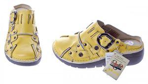 Damen Leder Clogs TMA Schuhe Schwarz Weiß Rot Grün Gelb Used Look Slipper echt Leder Comfort Sandalen – Bild 6