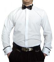 Herren Designer Smokinghemd Weiß Schwarze Fliege Hemd tailliert Slimfit Manschettenknöpfe Smoking Kragen – Bild 1