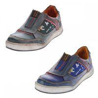Herren Leder Schuhe Slipper TMA 4104 Halb Schuhe Blau Sneaker Comfort Sportschuhe Used Look – Bild 1