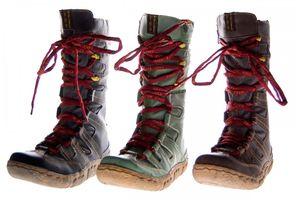 Winter Leder Stiefel Damen Schuhe gefüttert Schwarz Braun Grün Winterstiefel im used Look TMA 7057