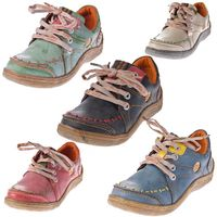 Damen Leder Halb Schuhe Comfort Sneakers Schwarz Grün Blau Rot Weiß Used Look Turnschuhe TMA EYES 1646 – Bild 1