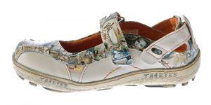 Damen Leder Ballerina Schuhe TMA EYES 1601 Sandalen viele Farben Zeitungsdruck Gr 36-42 – Bild 5