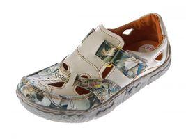 Damen Comfort echt Leder Sandaletten TMA 7008 Schuhe viele Farben Zeitungsdruck Halbschuhe Sandalen – Bild 3