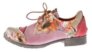 Damen Comfort Leder Halb Schuhe TMA 5111 Grau Schwarz Weiss Blau Rot Zeitungsdruck Halbschuhe – Bild 18