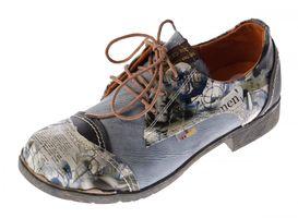 Damen Comfort Leder Halb Schuhe TMA 5111 Grau Schwarz Weiss Blau Rot Zeitungsdruck Halbschuhe