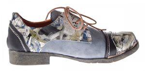 Damen Comfort Leder Halb Schuhe TMA 5111 Grau Schwarz Weiss Blau Rot Zeitungsdruck Halbschuhe – Bild 7