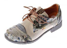 Damen Comfort Leder Halb Schuhe TMA 5111 Grau Schwarz Weiss Blau Rot Zeitungsdruck Halbschuhe – Bild 3
