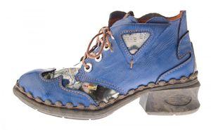 Damen Leder Comfort Knöchel Schuhe TMA 5155 Halb Schuhe Schwarz-Grau Blau Weiß Rot Blockabsatz Boots – Bild 11