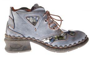 Damen Leder Comfort Knöchel Schuhe TMA 5155 Halb Schuhe Schwarz-Grau Blau Weiß Rot Blockabsatz Boots – Bild 7