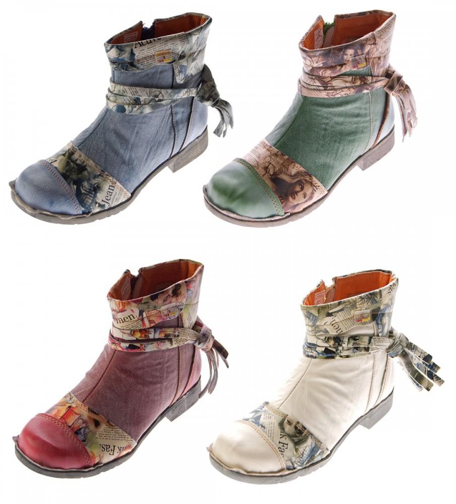 Leder Damen Stiefeletten Comfort Boots Knöchel Schuhe Schwarz Blau Rot Grün Weiß TMA 5001 Halbschuhe