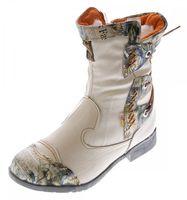 Damen Leder Winter Stiefeletten Comfort Boots Knöchel Schuhe TMA 5016 Schwarz Rot Weiß Blau gefüttert – Bild 5