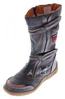 Damen Leder Winter Stiefel Comfort Boots TMA 14411 Schuhe Schwarz Braun Jeans Blau Grün gefüttert – Bild 2