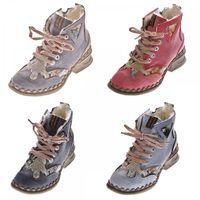 Leder Damen Winter Stiefeletten Comfort Knöchel Schuhe TMA 5171 Schwarz Weiß Blau Rot Boots gefüttert