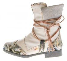 Damen Leder Winter Stiefeletten Comfort Boots TMA 5061 Knöchel Schuhe Schwarz Weiß Blau gefüttert – Bild 16