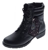 Damen Boots Schnürer Herbst Winter Knöchel Schuhe Schwarz Stiefeletten Blockabsatz leicht gefüttert – Bild 1