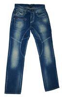 Herren Jeans Blau Knopfleiste Used Look Waschungen Ziernähte Hose für Männer – Bild 1