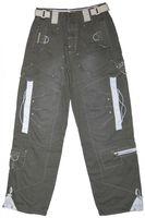 Herren Cargo Jeans Oliv Reißverschluss Hose für Männer Ziernähte diverse Taschen L 32