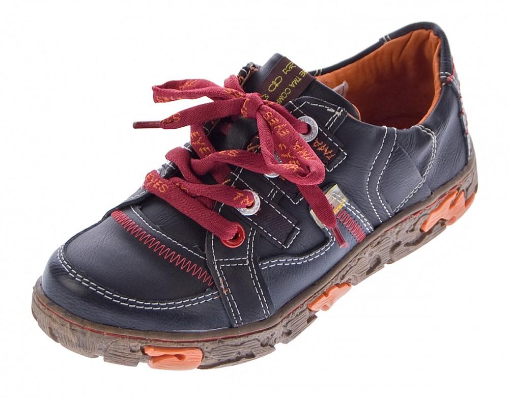 Comfort Damen Leder Schuhe Schnürer TMA 4181 Sneakers Schwarz Weiß Rot Grün Turnschuhe Halbschuhe