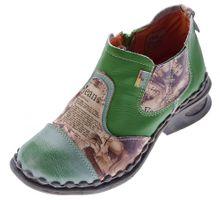 Damen Leder Comfort Knöchel Schuhe TMA 5195 Halb Schuhe Schwarz-Grau Blau Weiß Rot Grün Blockabsatz Boots – Bild 3