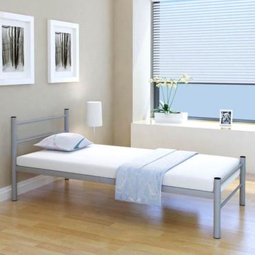 Bettgestell Einzelbett 90 x 200 cm Metall Grau – Bild 2