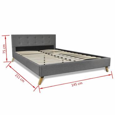 Bett 140×200 cm Holz Stoff-Polsterung Hellgrau   – Bild 9