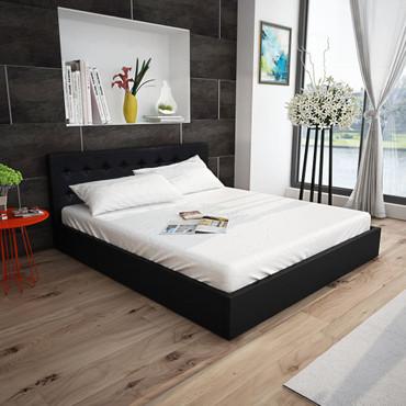 Kunstlederbett mit Gasdruckfeder Bettkasten 140 cm schwarz – Bild 3