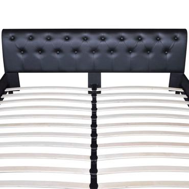Bett 140×200 cm Kunstleder Schwarz  – Bild 6