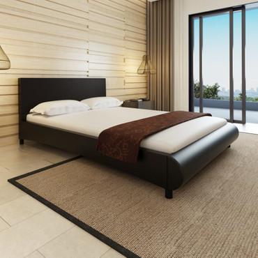 Bett 140×200 cm Kunstleder Schwarz  – Bild 1