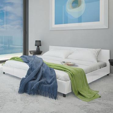 Bett 140×200 cm Kunstleder Weiß  – Bild 1