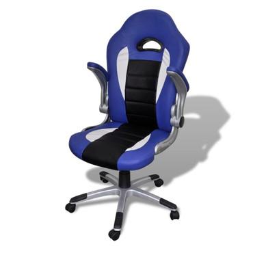 Bürosessel Bürostuhl Drehstuhl Chefsessel Kunstleder Office Blau – Bild 4