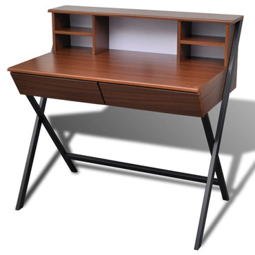 Büroschreibtisch mit 2 Schubladen Braun  – Bild 2