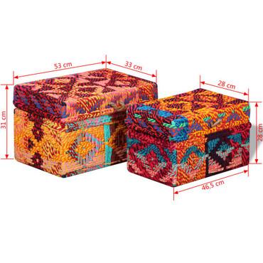 Aufbewahrungsboxen 2 Stk. Recycelter Baumwollstoff Mehrfarbig – Bild 11