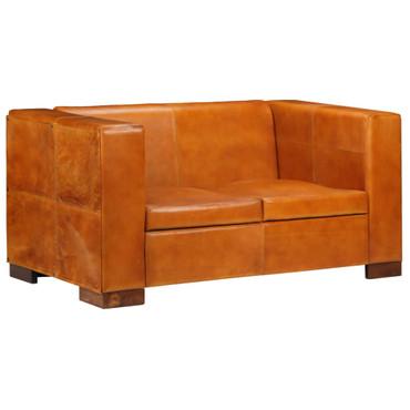 2-Sitzer-Sofa Echtleder Hellbraun – Bild 1