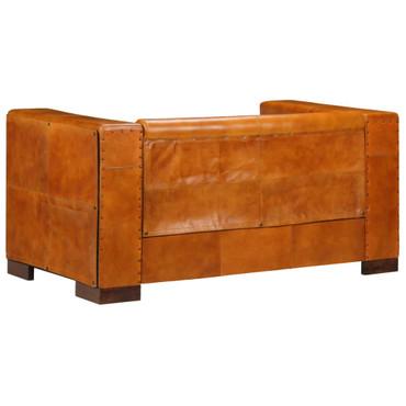 2-Sitzer-Sofa Echtleder Hellbraun – Bild 5