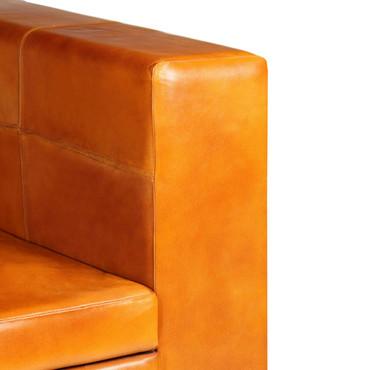 2-Sitzer-Sofa Echtleder Hellbraun – Bild 7