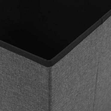 Falthocker Leinenoptik 38×38×38 cm Dunkelgrau – Bild 2
