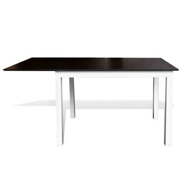 Ausziehbarer Esstisch Gummibaum-Holz Braun und Weiß 150 cm – Bild 2
