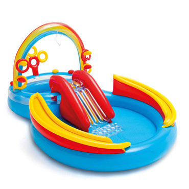 Intex Aufblasbarer Pool Rainbow Ring Play Center 297x193x135cm 57453NP – Bild 1