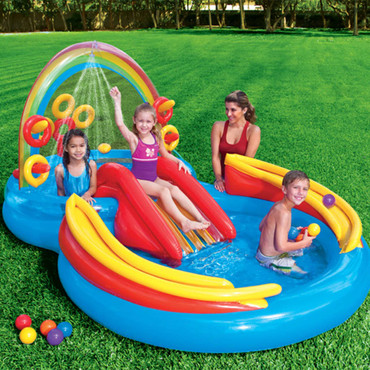 Intex Aufblasbarer Pool Rainbow Ring Play Center 297x193x135cm 57453NP – Bild 2