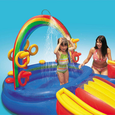 Intex Aufblasbarer Pool Rainbow Ring Play Center 297x193x135cm 57453NP – Bild 3