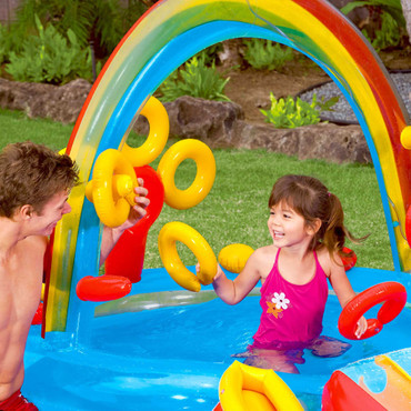 Intex Aufblasbarer Pool Rainbow Ring Play Center 297x193x135cm 57453NP – Bild 7