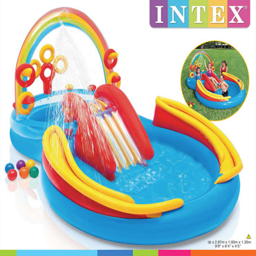 Intex Aufblasbarer Pool Rainbow Ring Play Center 297x193x135cm 57453NP – Bild 9