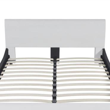 Bett 140×200 cm Kunstleder Weiß  – Bild 5